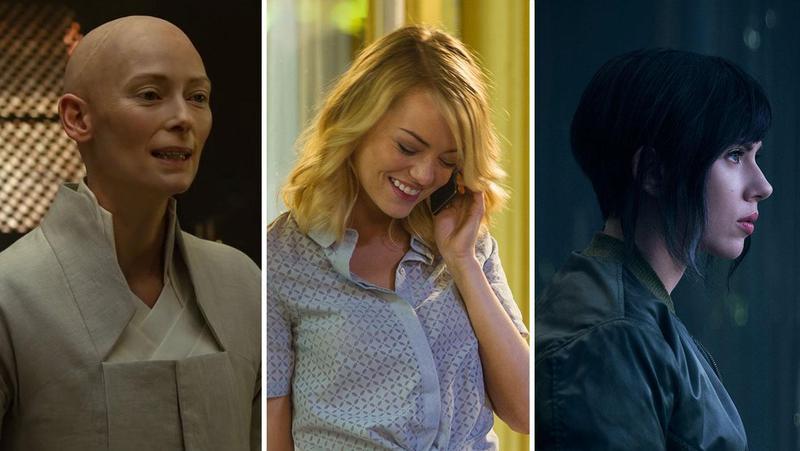 包括趙牡丹在內的亞裔美籍演員都抗議好萊塢洗白文化,例如《奇異博士》的蒂妲史雲頓(左起)、《飛越情海》的艾瑪史東和《攻殼機動隊》的史嘉蕾喬韓森,原本角色設定都是亞洲人。(翻攝自hollywoodreporter.com)