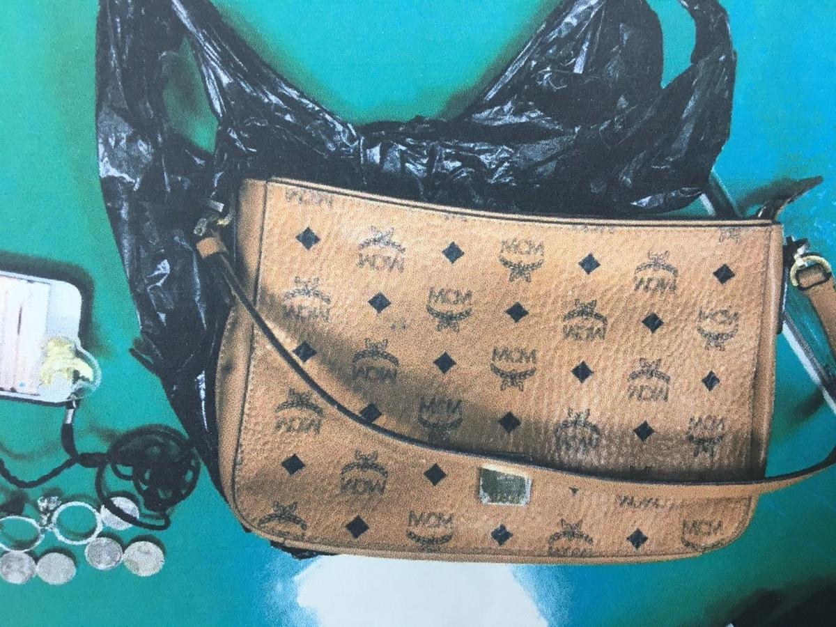 黃姓嫌犯以電擊棒威脅泰女,接著搶走她的皮包。(翻攝畫面)