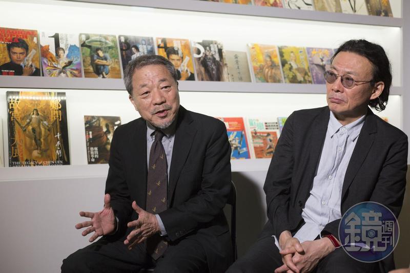 川口開治(左)雖然是鄭問的前輩,但鄭問的作品仍帶給他不小衝擊。右為《蒼天航路》漫畫家王欣太。