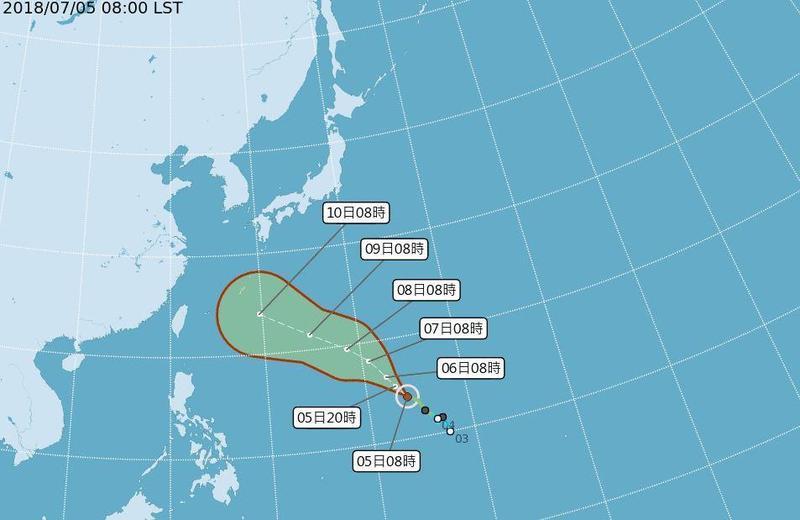 輕颱瑪莉亞昨晚8點形成,持續向西北前進再轉西北西,是否影響台灣仍待觀察。(翻攝自中央氣象局網站)