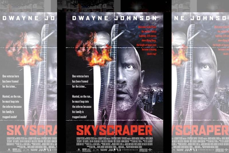 巨石強森曾說,《摩天大樓》是向《終極警探》致敬的作品,還合成了這款《終極警探》致敬的復古風海報。(翻攝自Instagram)