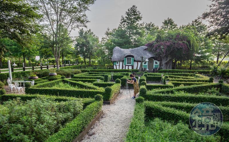 「童話屋」前方的幾何造型歐式花園,讓人彷彿身在異國。