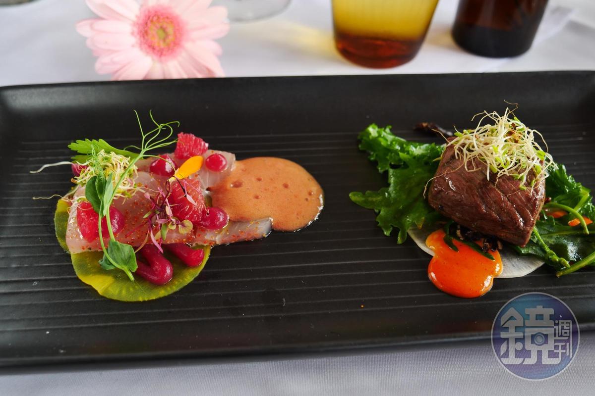 前菜「生魚片佐乾式熟成沙朗牛排」以血橙調成的醬汁帶出魚肉鮮美,牛肉柔嫩香甜。(午間套餐菜色,83美元/人,約NT$2490)