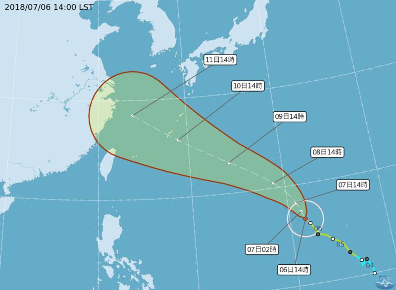 第8號颱風瑪莉亞已經從輕颱再轉強颱。(翻攝自中央氣象局)
