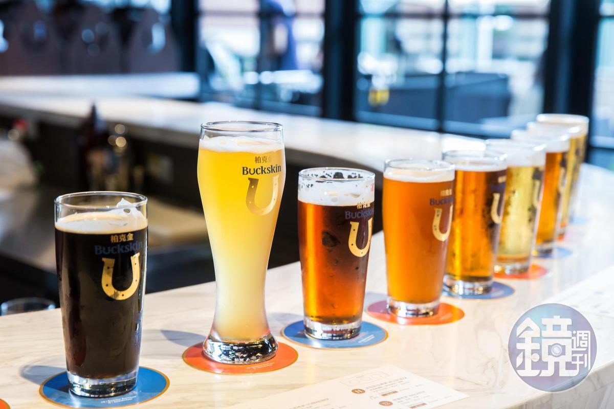 柏克金啤酒餐廳販售12款不同風味德式啤酒。