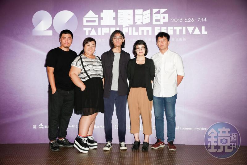 導演勒嘎舒米(左起)、演員廖慧珍、導演呂柏勳、導演謝沛如、導演廖克發,一起出席《十年台灣》台北電影節首映。