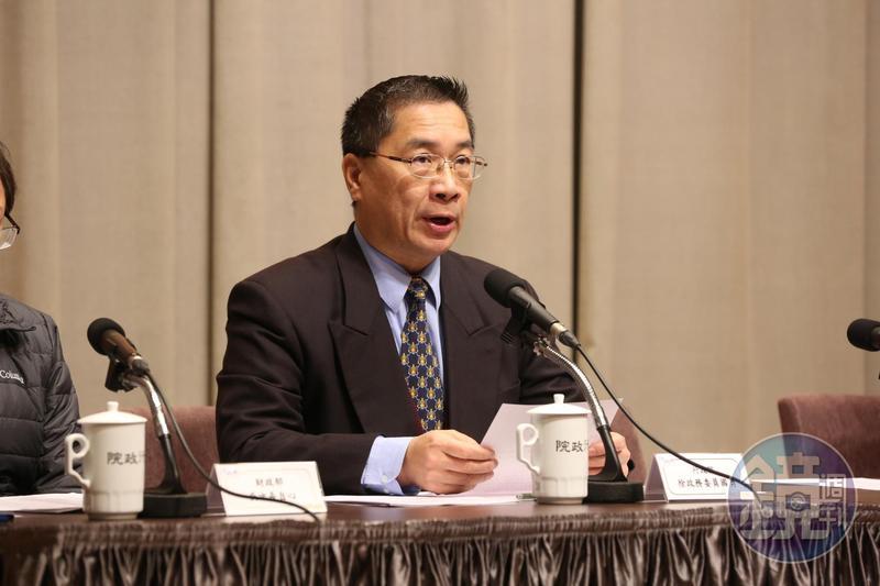府院啟動肉閣改組,政院發言人徐國勇(圖)將轉任內政部長,法務部長邱太三將轉任總統府副祕書長。