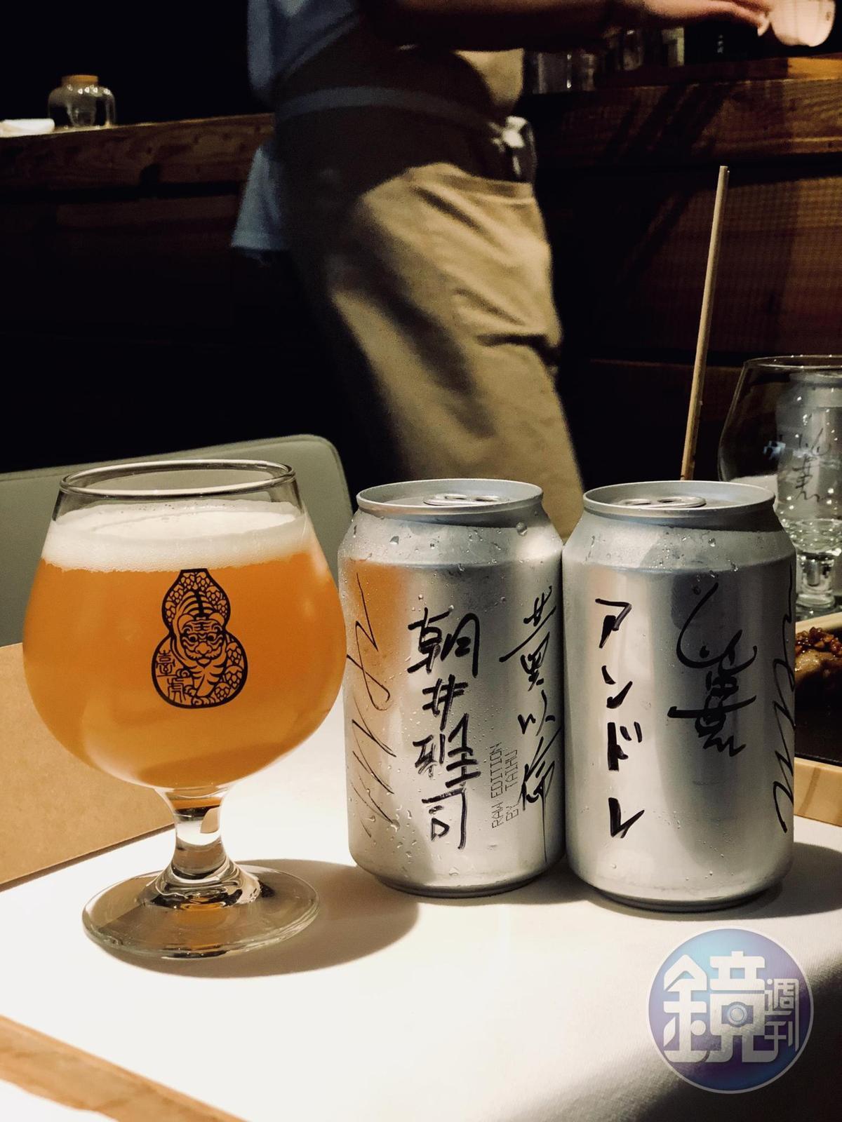 佐餐酒為「臺虎精釀」的紅心芭樂啤酒。