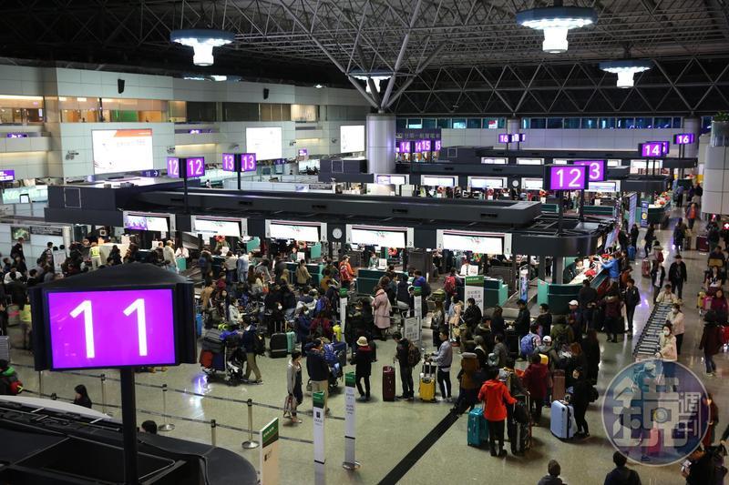 去年桃機兩個航廈總計有超過4000萬人次旅客量,預計今年有機會上看4500萬人次。