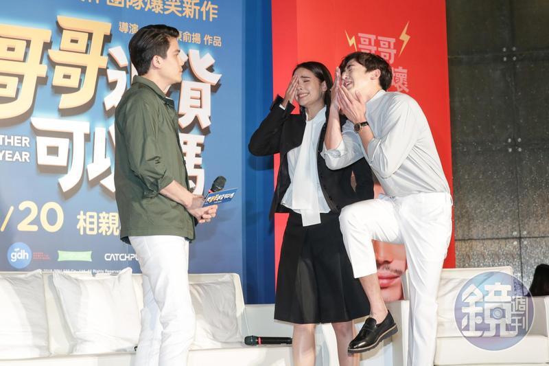 Sunny在片中不爽Yaya嫁給尼坤,現場2人要合力逗笑Sunny,女神與男神不計形象,賣力搞笑演出。