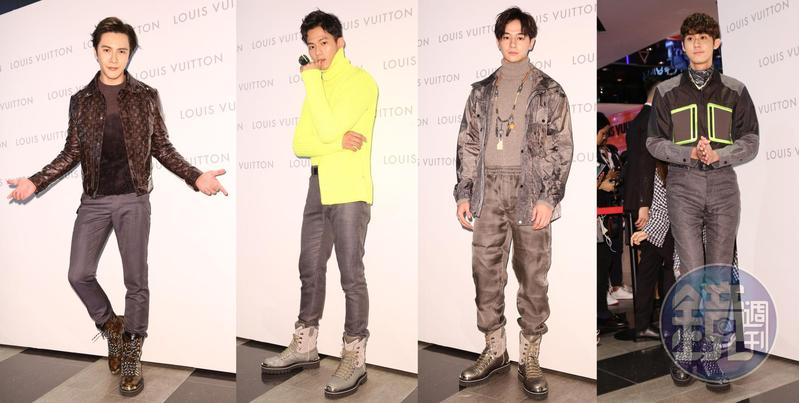 LV全新男裝快閃店邀來〈左起〉謝佳見、吳念軒、張軒睿、李玉璽站台。