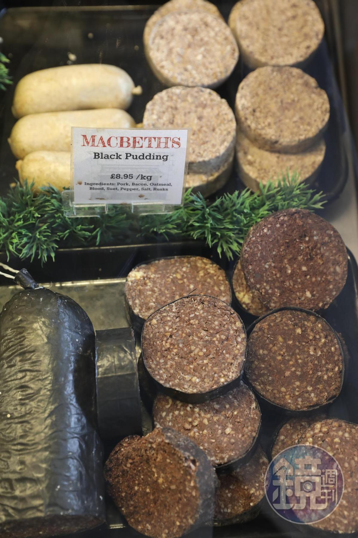 肉舖裡隨時有售當天製作的Haggis與黑布丁,是蘇格蘭人的最愛。