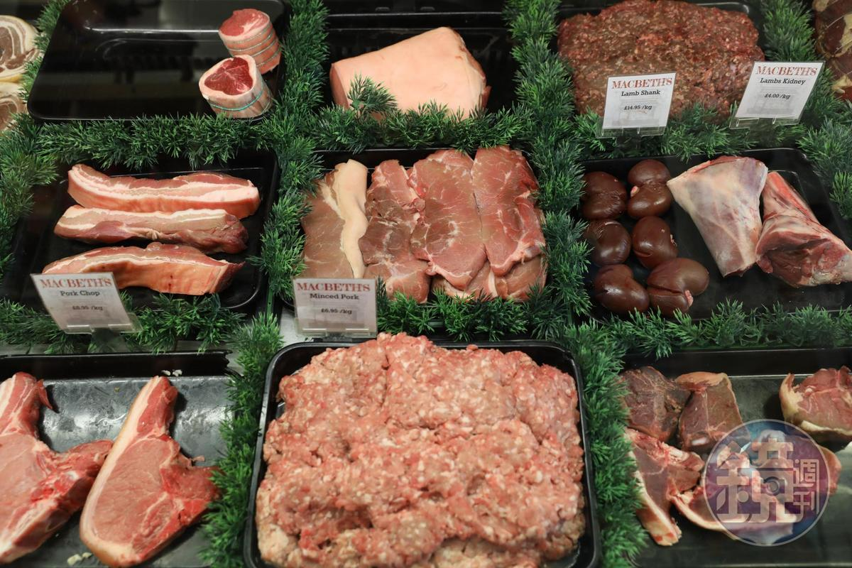 豬肉的各種部位與內臟也很齊全,可見蘇格蘭人的口味。