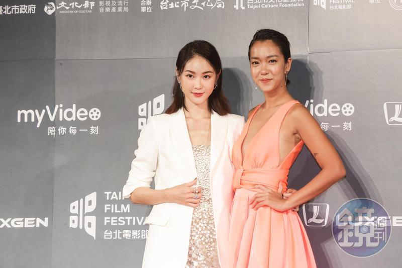 鍾瑶(左)一身閃亮勁裝、與李霈瑜共同出席台北電影獎頒獎典禮,坦言對得獎完全沒信心。