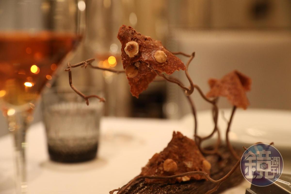 裝飾成樹狀的榛果巧克力片也在甜點之列。(Tasting Menu菜色)