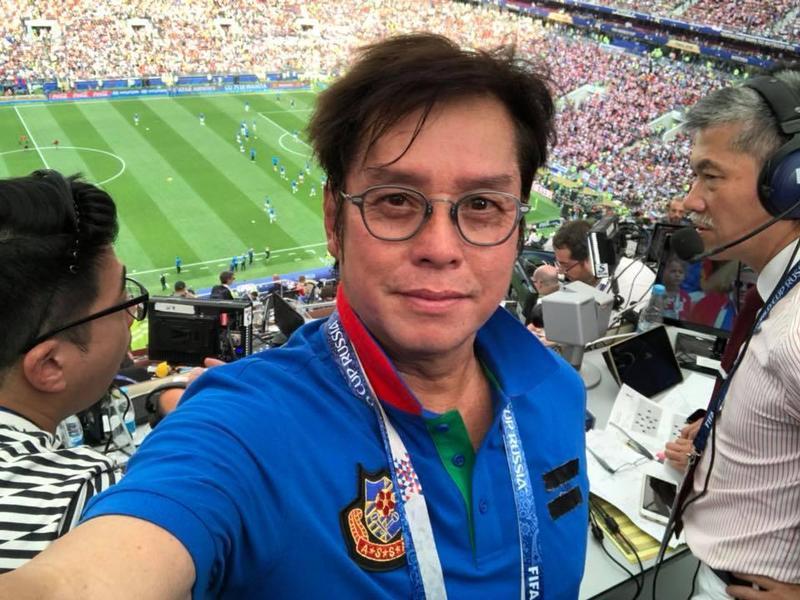 譚詠麟親身參與世足決賽。(翻攝自譚詠麟臉書)