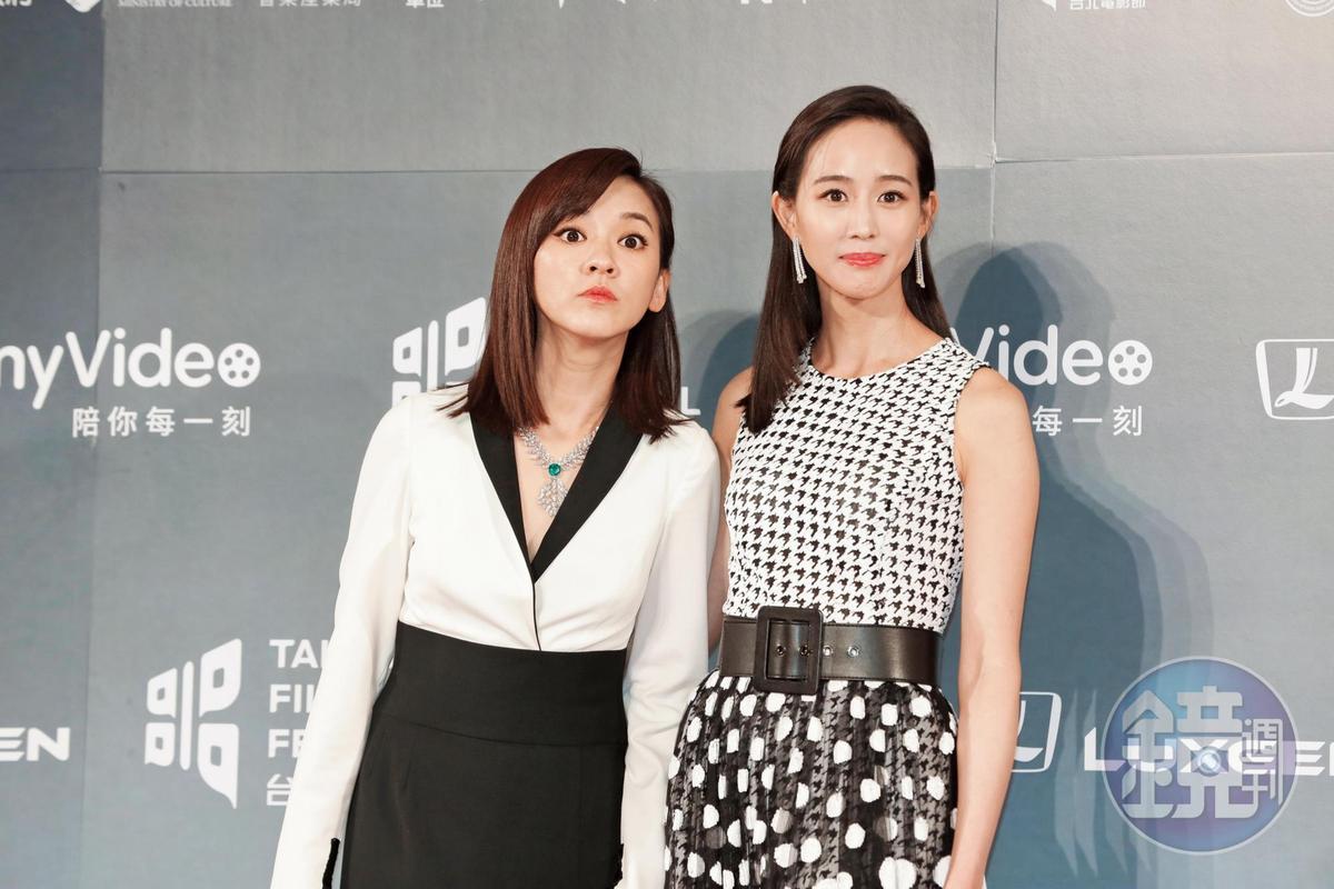 陳意涵(左)不知道鏡頭外什麼吸引了她的注目,表情令人微微發毛,張鈞甯(右)沒注意到、也沒幫她擋。