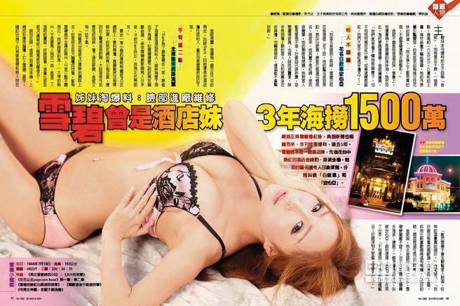 雪碧曾被踢爆在台中金錢豹當酒店小姐,下海3年就海撈千萬,還清家裡債務。(翻攝自《時報周刊》)
