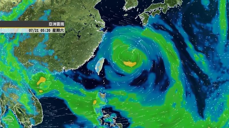 第十號颱風安比若形成,即便不登陸,外圍環流仍對台灣有影響。(翻攝自氣象達人彭啟明臉書影片)