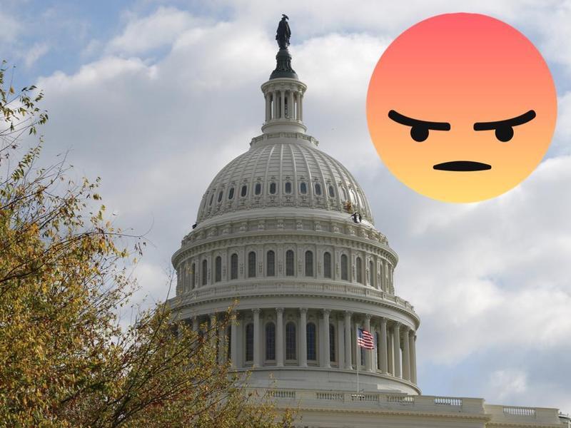 在美國國會議員的臉書上,「憤怒」已成了最常被使用的表情符號。