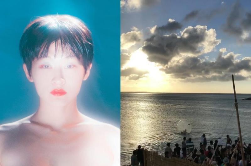 星期三的康帕內拉日前在沖繩演唱時,女主唱玩太嗨連人帶球被推向海上。(左圖為好玩國際文化提供,右翻攝自IG)