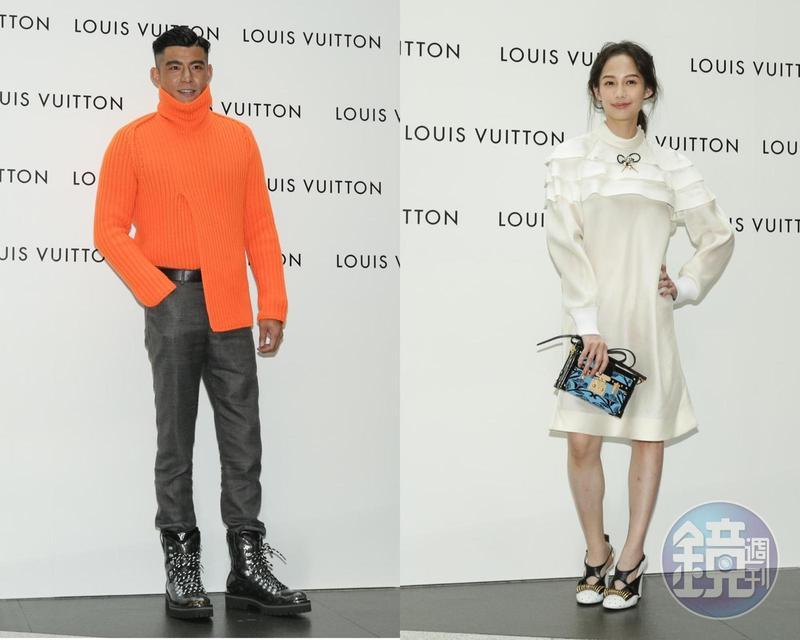 在這大熱天裡,王柏傑(左)可以穿著高領毛衣,真的讓人好佩服;身材嬌小的簡嫚書(右)穿著白色系洋裝,加上高跟鞋呈現年輕的魅力。