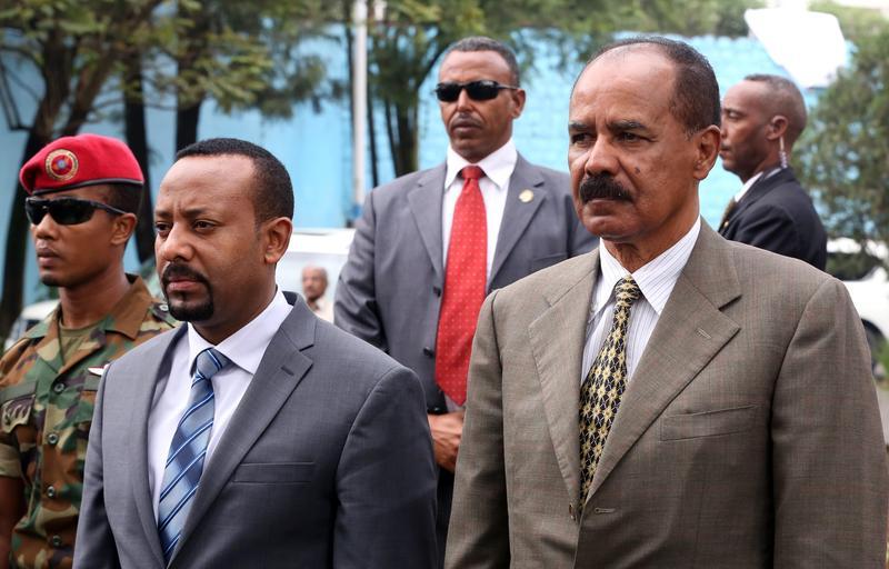 厄利垂亞總統伊薩亞斯和衣索比亞總理阿比伊一同出席新使館開幕儀式。(東方IC)
