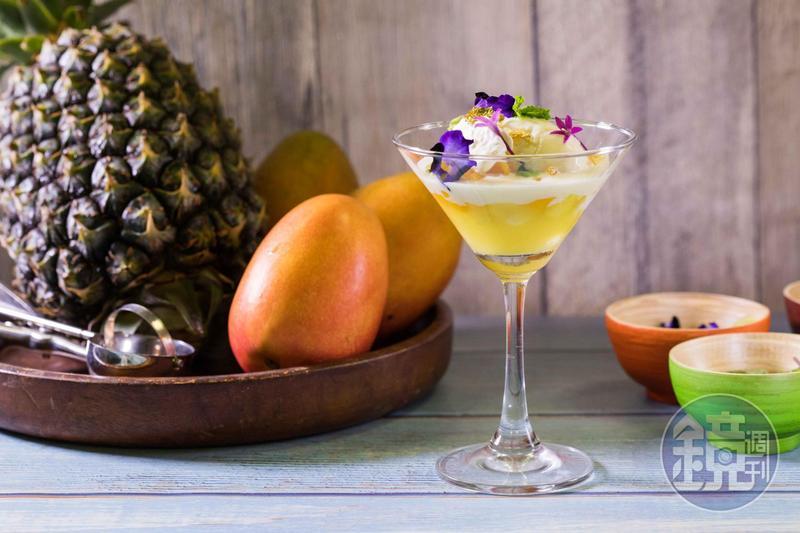 「鳳梨芒果威士忌冰淇淋聖代」,香濃甜蜜纏繞著熟肉桂香氣,成熟有韻味。