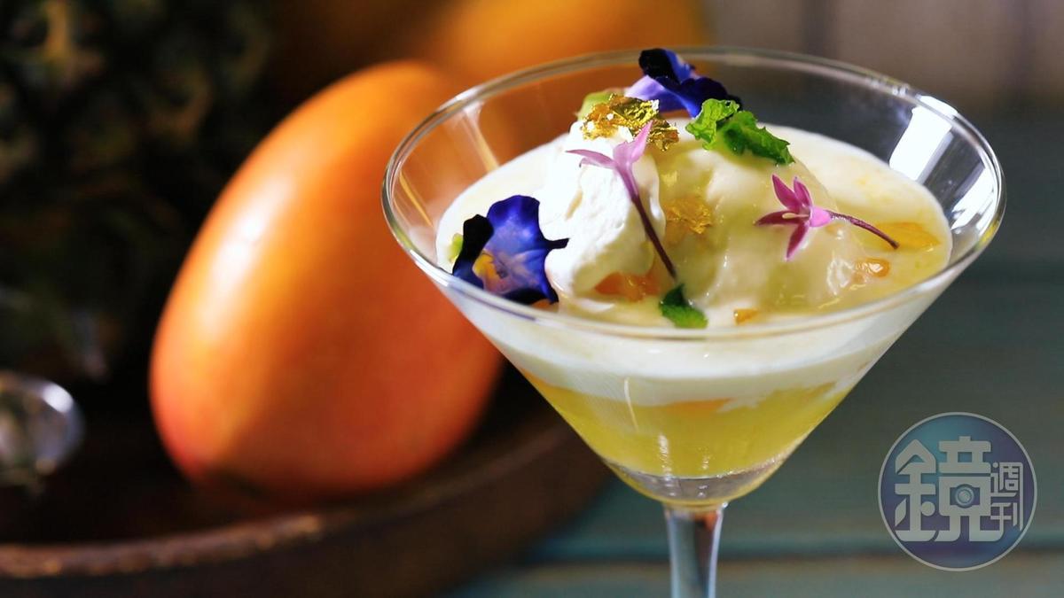 端上親手做的「鳳梨芒果威士忌冰淇淋聖代」,情人一定被融化。