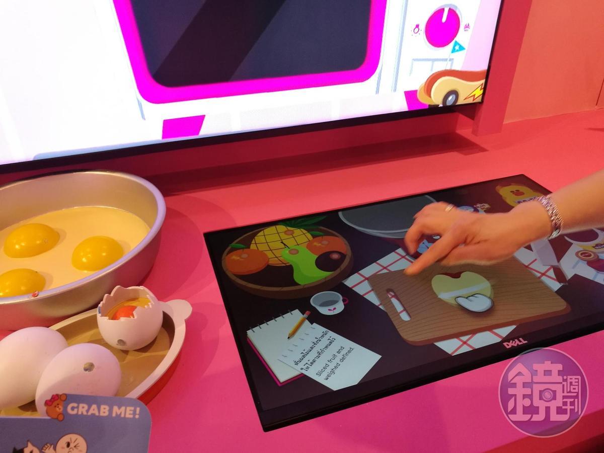 兔兔Cony廚房內還可以玩做菜的觸控遊戲。