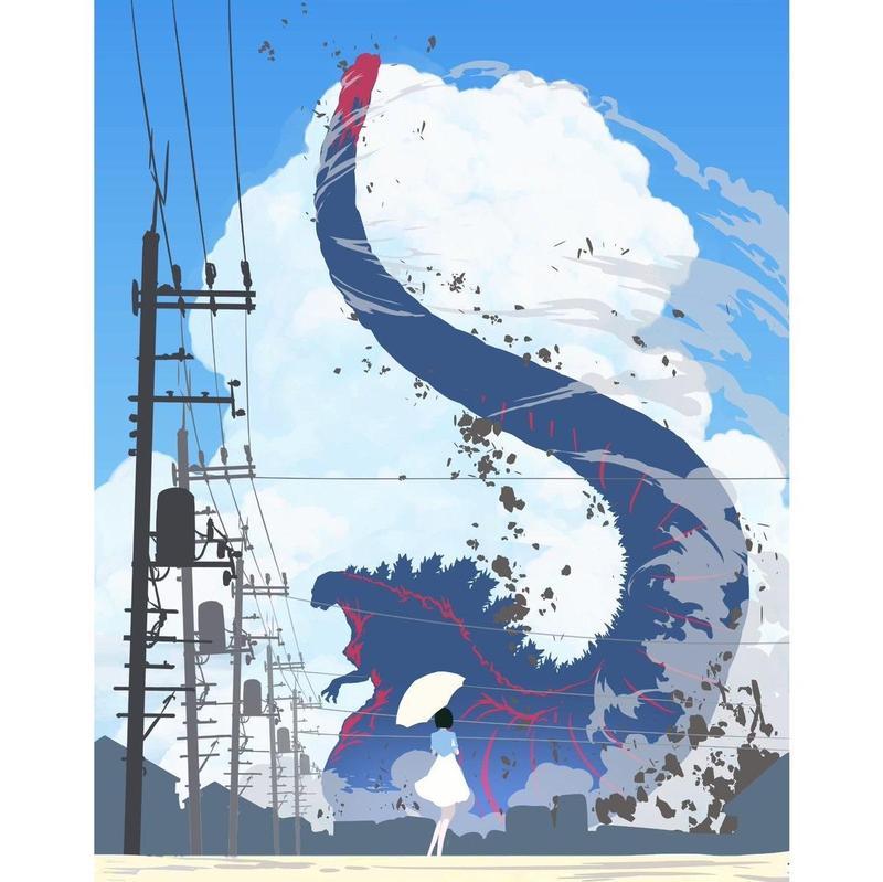 日本繪師ぺろり的話題作品「日本之夏 哥吉拉之夏」。(Twitter@peroringa)