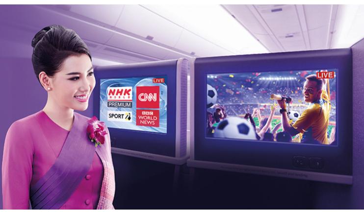 泰航LIVE TV提供即時NHK、BBC及CNN新聞和SPORT24頻道。(泰國航空提供)