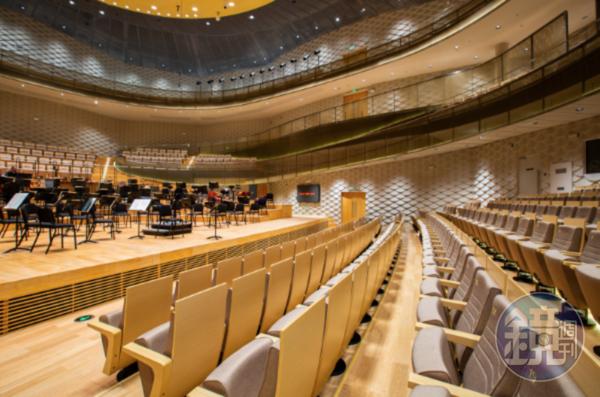 演奏的舞台材板選用頂級音樂廳會使用的阿拉斯加黃雪松,以達到最好的聲學效果。