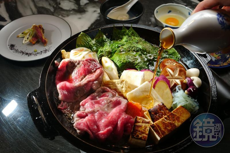 「樂軒松阪亭」主打原汁原味的A5和牛關西風壽喜燒。(5,800元起/雙人套餐,圖為6,800元)