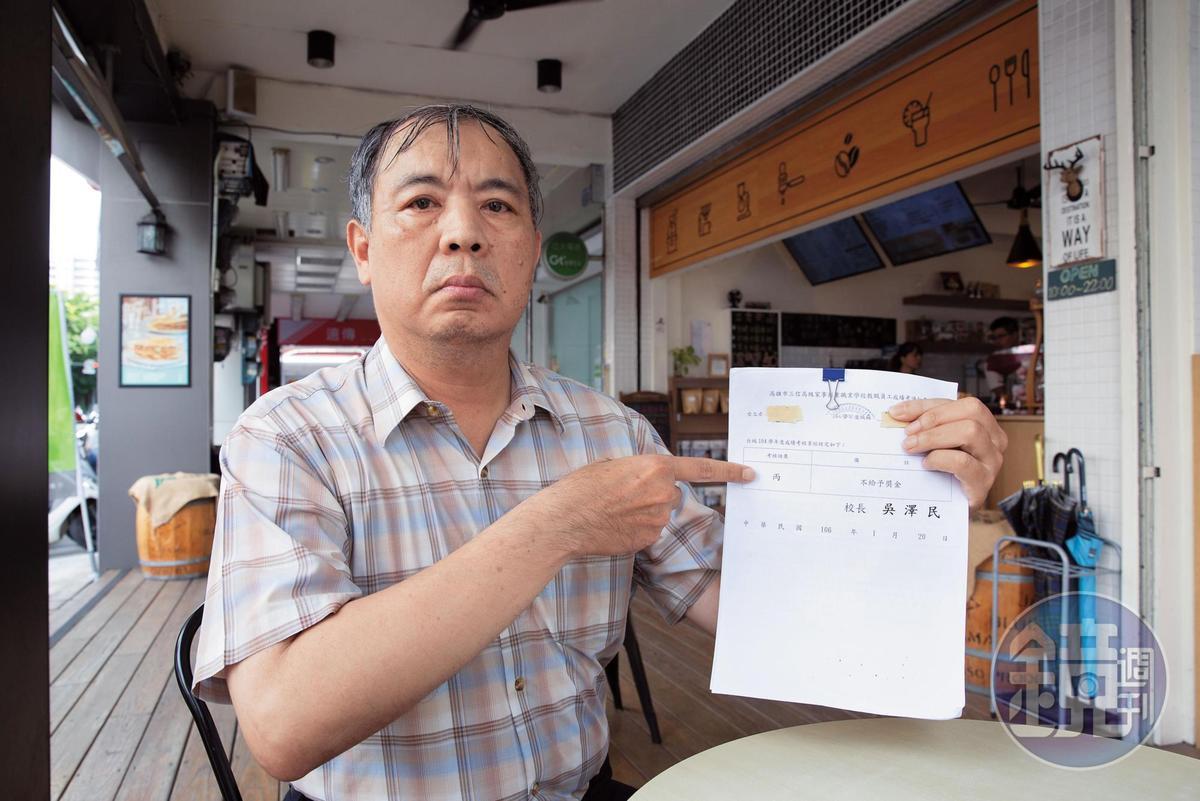李老師拿出陳情單控訴,學校以招生不足為由,連2年將他考績打丙等,要資遣他,讓他相當不滿。