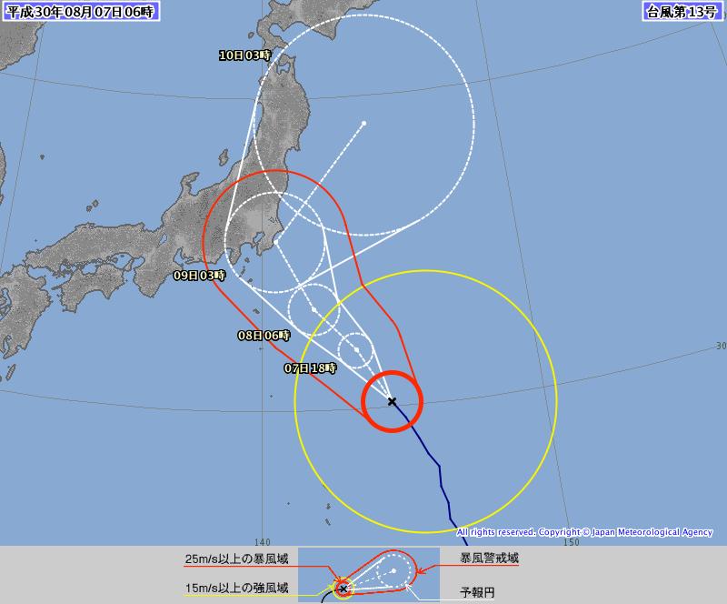中颱珊珊仍持續北移,預估週四、五為影響日本最主要的時間點,請往返此區域的民眾多加留意。(翻攝自日本氣象廳)