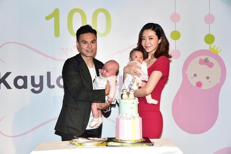 熊黛林與老公郭可頌昨日為雙胞胎女兒Kaylor和Lyvia舉行百日宴,與家人、圈外朋友分享喜悅。(STYLE International Management Group提供)