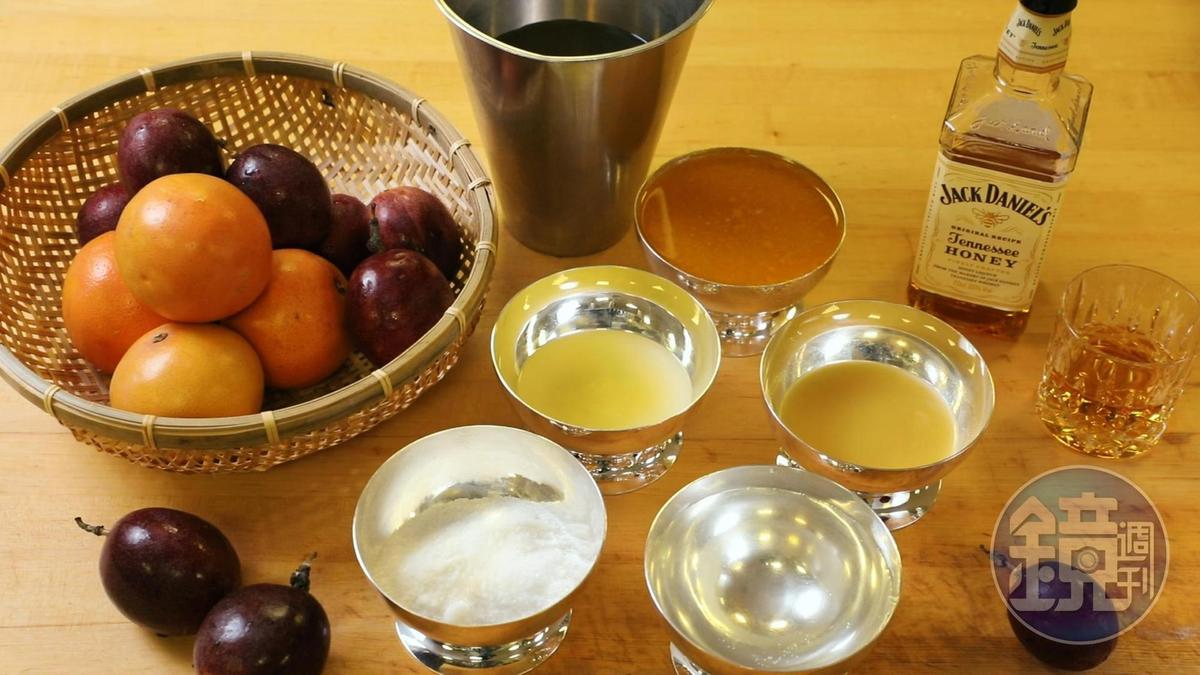 先把「百香果葡葡柚威士忌雪酪」食材備妥,就來準備大展身手。