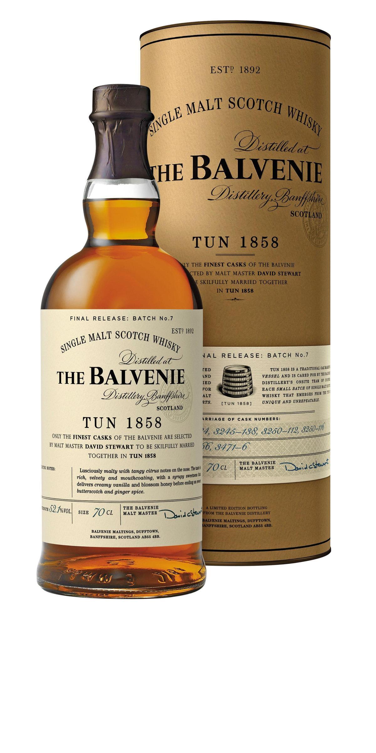 百富1858號上的酒標標示了「TUN1858」,意即融合桶的編號。