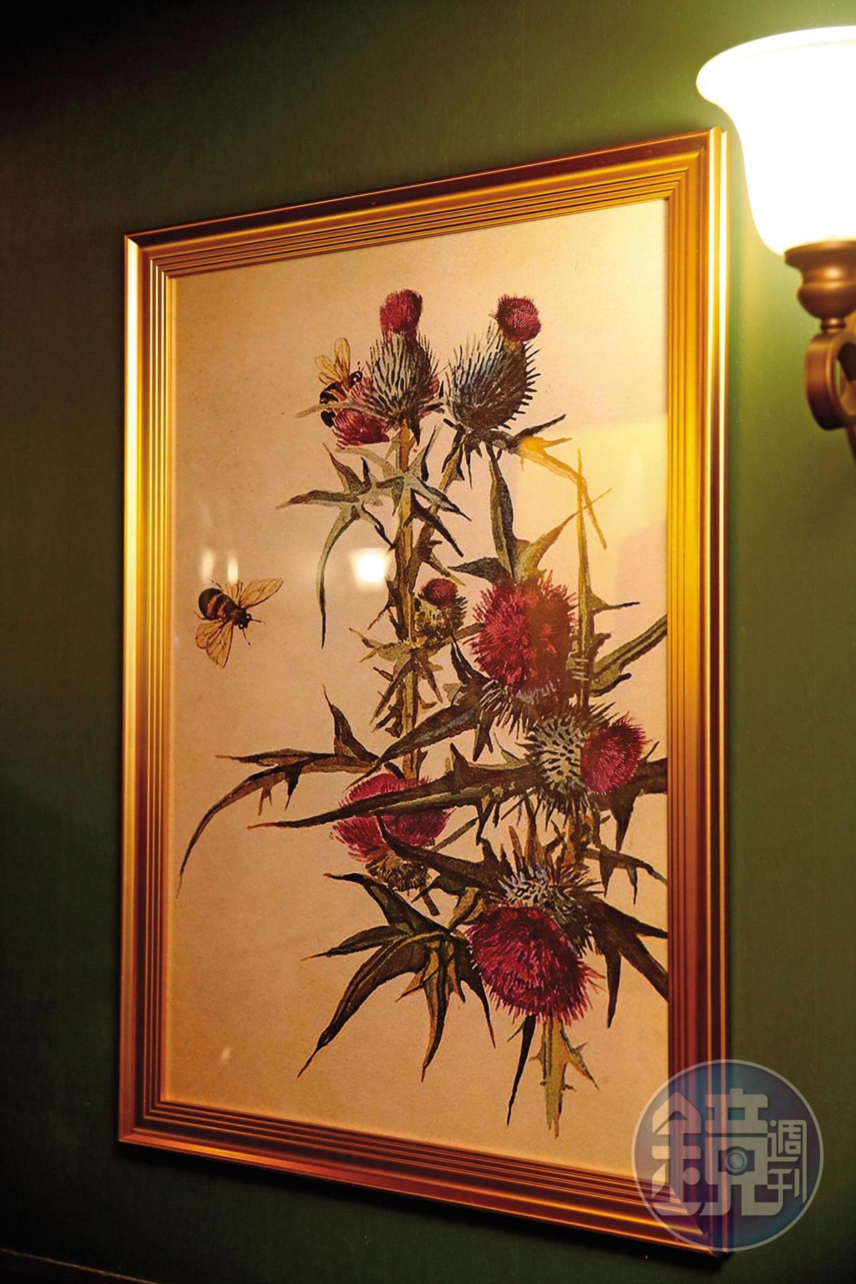 密室逃脫第2個線索是畫中有八朵蘇格蘭國花「薊」。