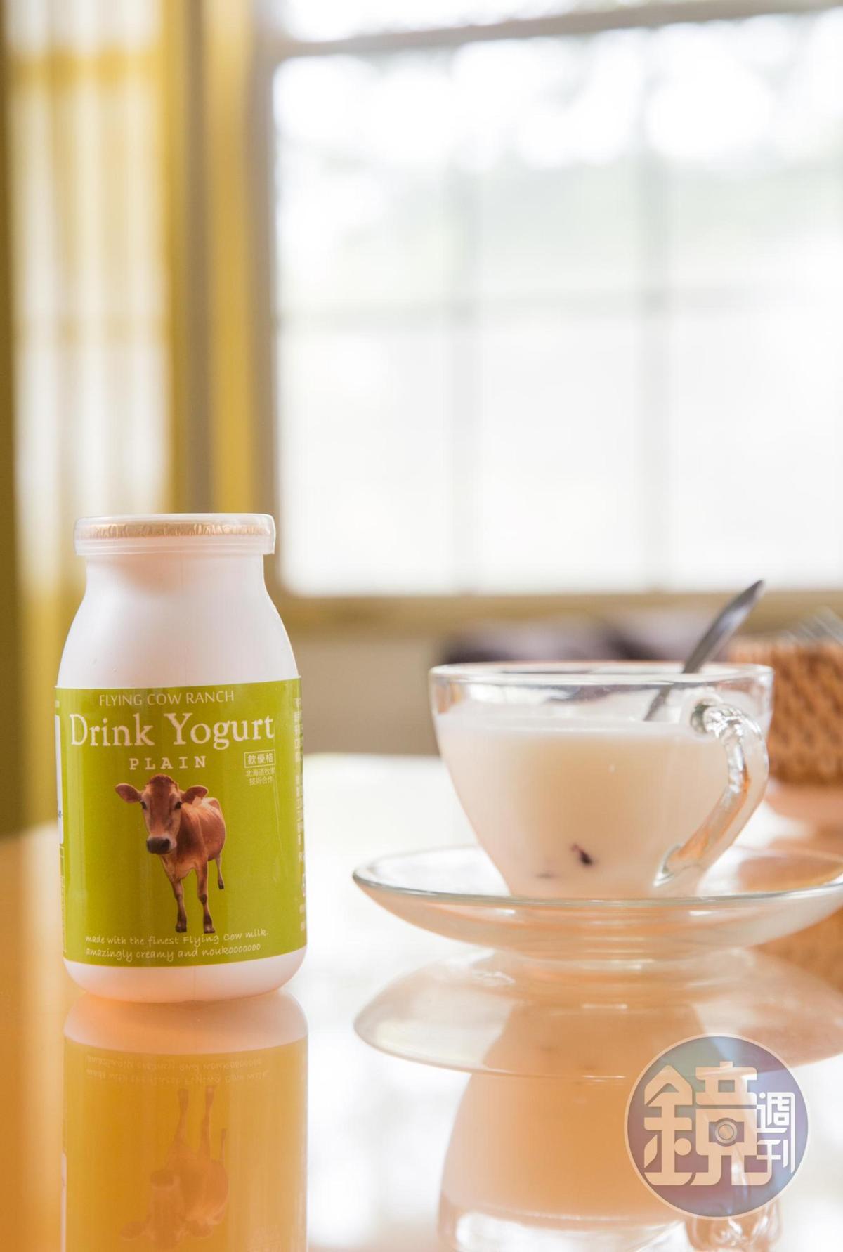 牧場用100%鮮乳製成的飲優格,完整保留乳品營養價值,適合老人、小孩飲用。(68元/瓶)