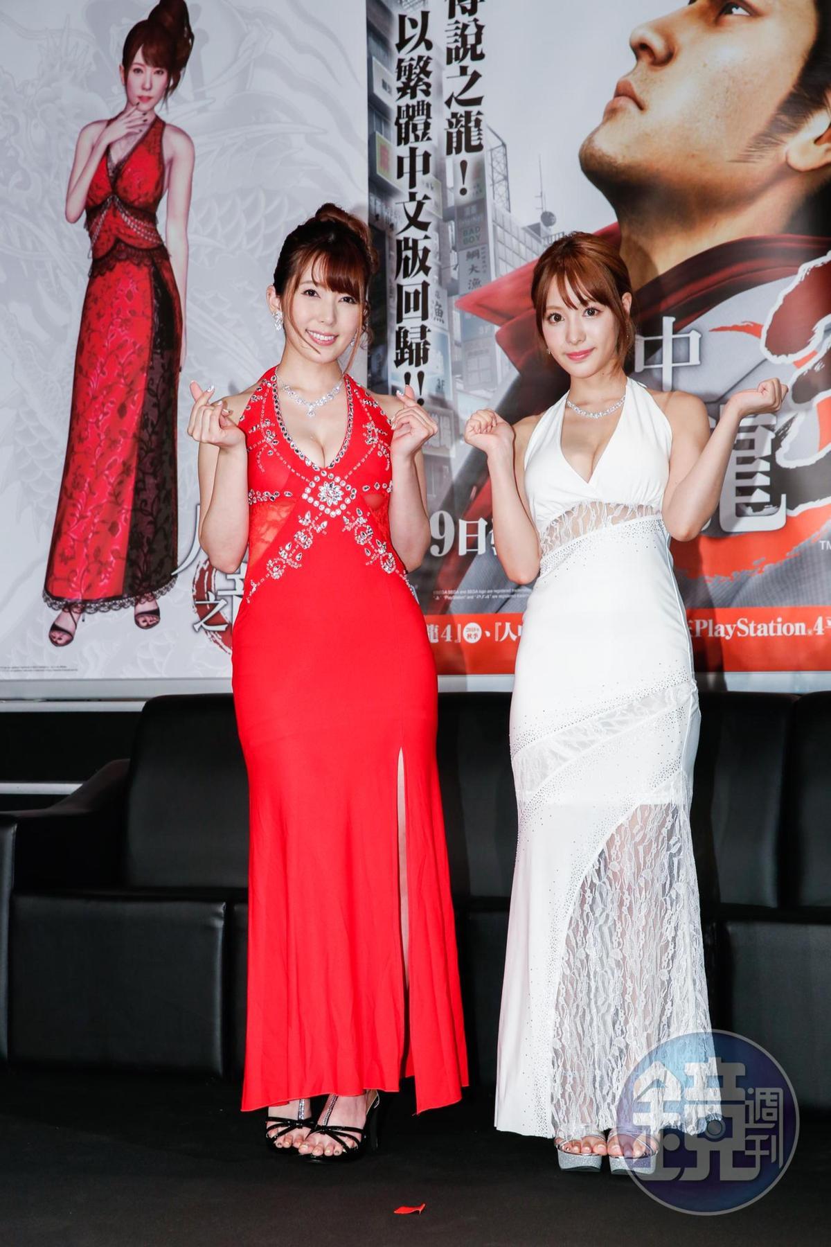 波多野結衣(左)和桃乃木香奈不約而同希望遊戲角色的上圍再多UP UP一些。