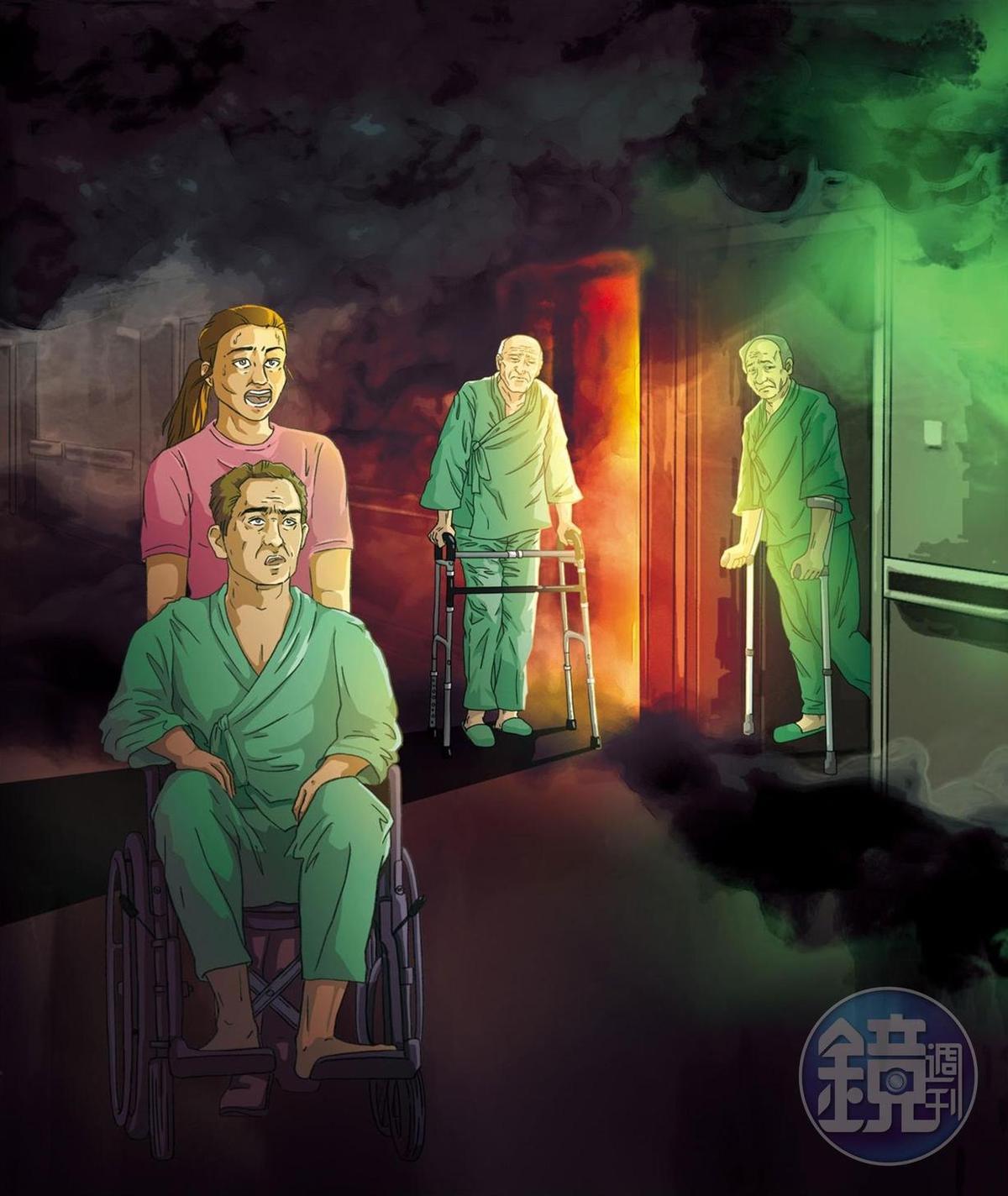 住在安寧病房區的都是重病以及行動不便者,需要看謢幫忙撤離。(圖為示意畫面)