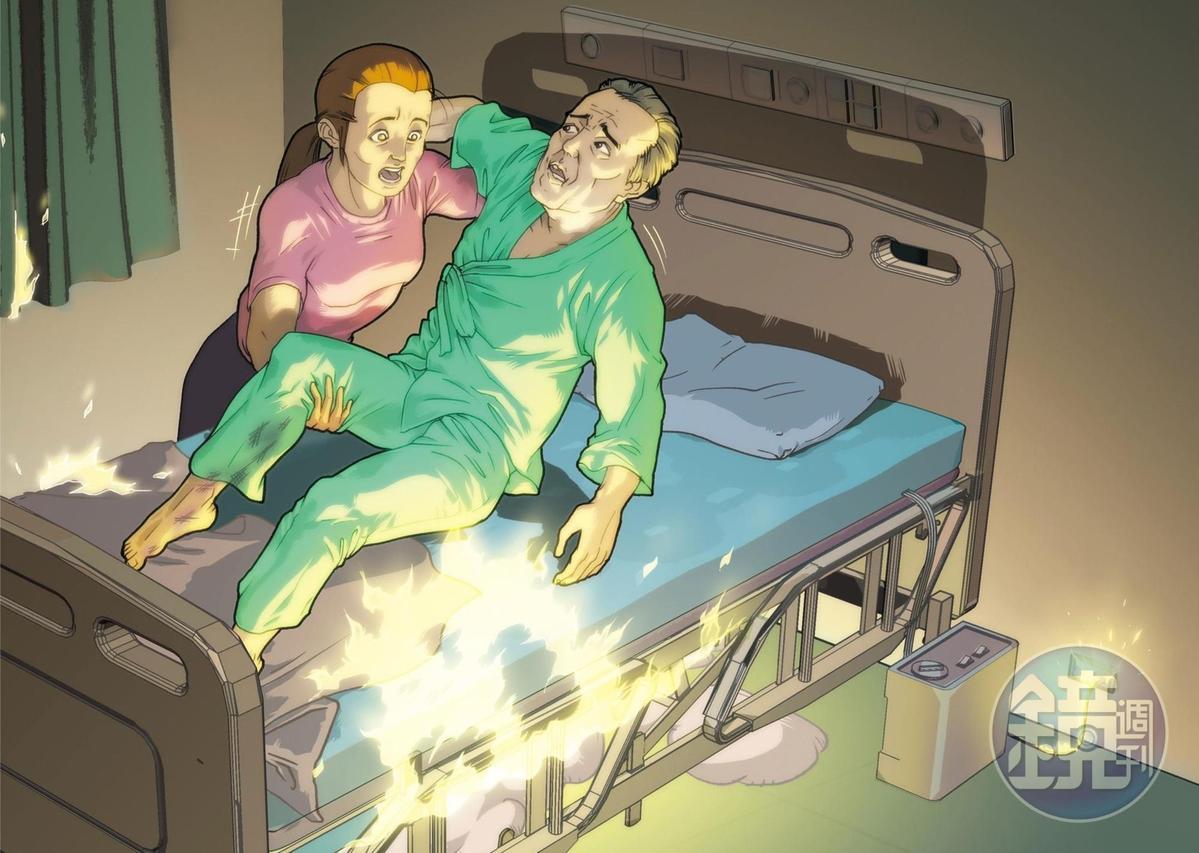 7A23房第5床墊動病床故障,不慎引起大火。(圖為示意畫面)
