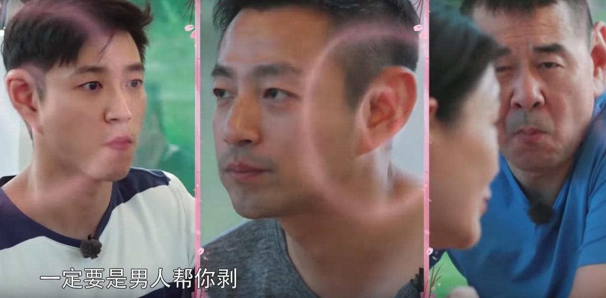 一席「剝蝦論」嚇得3位人夫立刻動手,陳建斌還霸氣向老婆表示「不要動,讓我給妳剝。」(翻攝自YouTube)