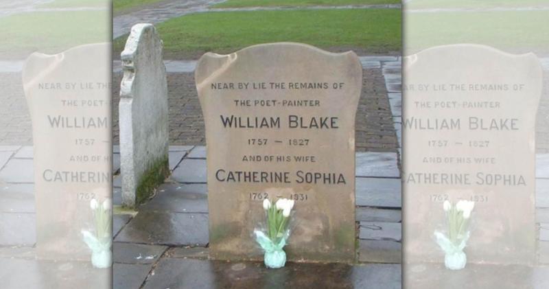 由於原本下葬的地點不明,布萊克和妻子現今的墓碑只能註明兩人長眠在「此碑附近」。(圖片來源:布萊克協會)