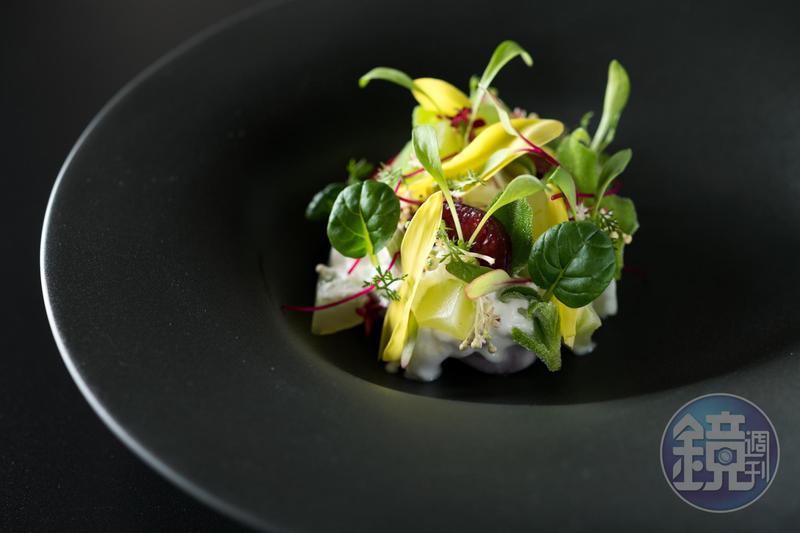 蔬菜或許沒有紅肉性感,但近來也開始有機會成為餐盤主舞台要角。圖為「Orchid Restaurant 蘭」將在9月份的「大蔬無界」餐會端上的熱帶風情「椰子慕絲季節蔬菜沙拉」。