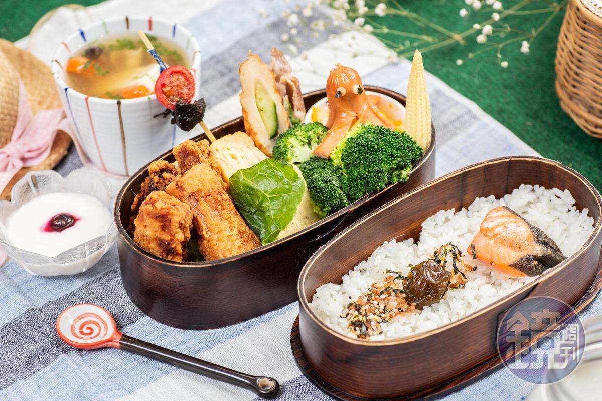 「炸鮮魚便當」有鹹酥甜嫩的鯛魚塊,以及章魚香腸、玉子燒、蔥肉捲等手作配菜,滋味細膩。(269元/份)
