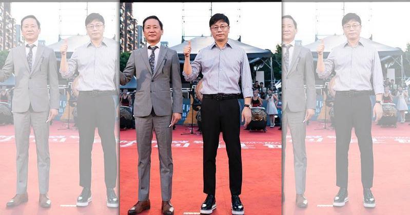 監製元東淵(左)、導演金容華連袂來台,出席《與神同行:最終審判》紅毯見面會。