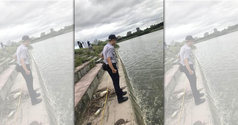 警方今日上午再度搜尋河域,尋找死者的左手左腳。(翻攝畫面)